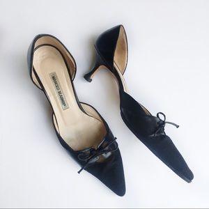 Manolo Blahnik   Black Cut Out Textured Point Heel